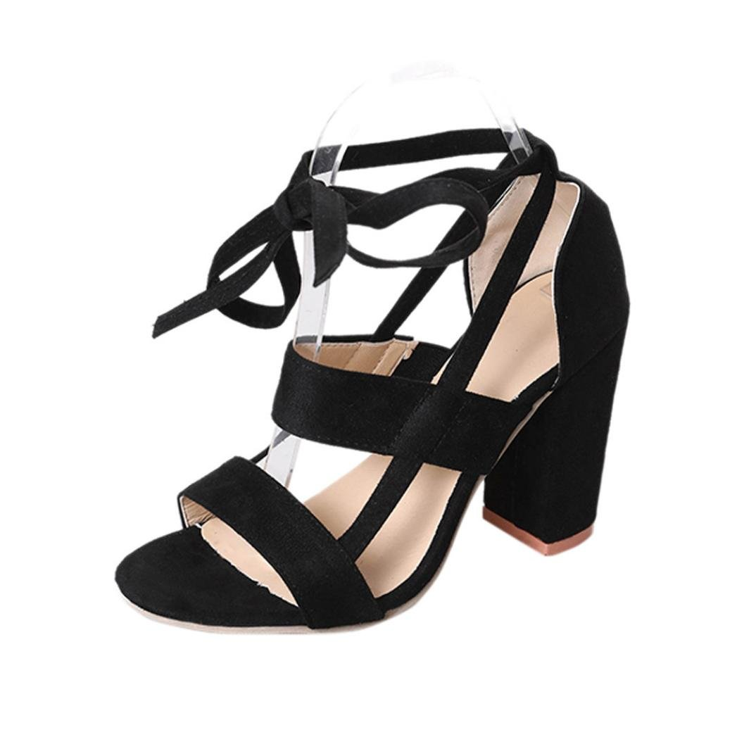 KaiCran Ladies Summer Sandals Women Sandals Ankle High Heels Block Party Open Toe Shoes B0793HZQ2L 6 B(M) US|Black