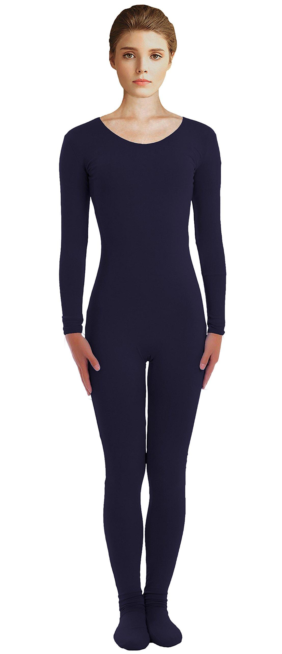 VSVO Adult Navy Scoop Neckline Unitard with Socks Catsuit Dancewear (XX-Large, Navy) by VSVO