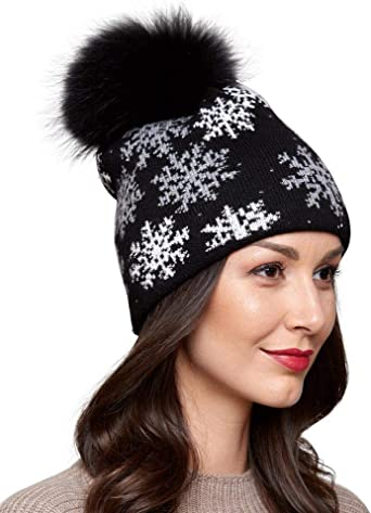 Women Girls Winter Beanie Hat Knitted Snow Fashion Pom Pom Gifts Flakes