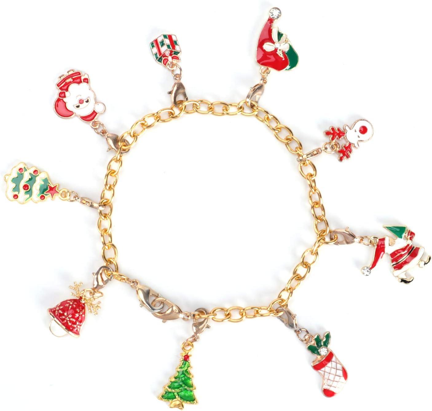 Mtele 2020 Christmas Advent Calendar 24 pcs Tree Hanging Decor DIY Xmas Ornaments with Bracelet Necklace Set Fashion Jewelry for Kids