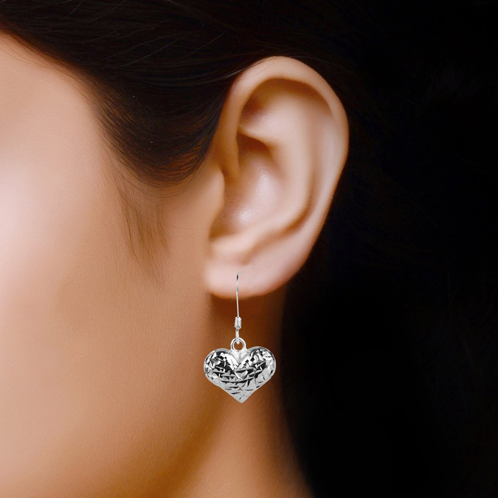 LeCalla Sterling Silver Jewelry Diamond-Cut Love Heart Theme Dangler Drop Earrings for Young Girl Women