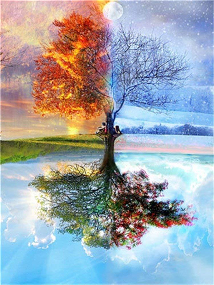 YEESAM ART New vernice da numeri per adulti e bambini–Romantic Four Season Tree 40,6x 50,8cm in lino–DIY Digital painting by Numbers Kits su tela, With Frame