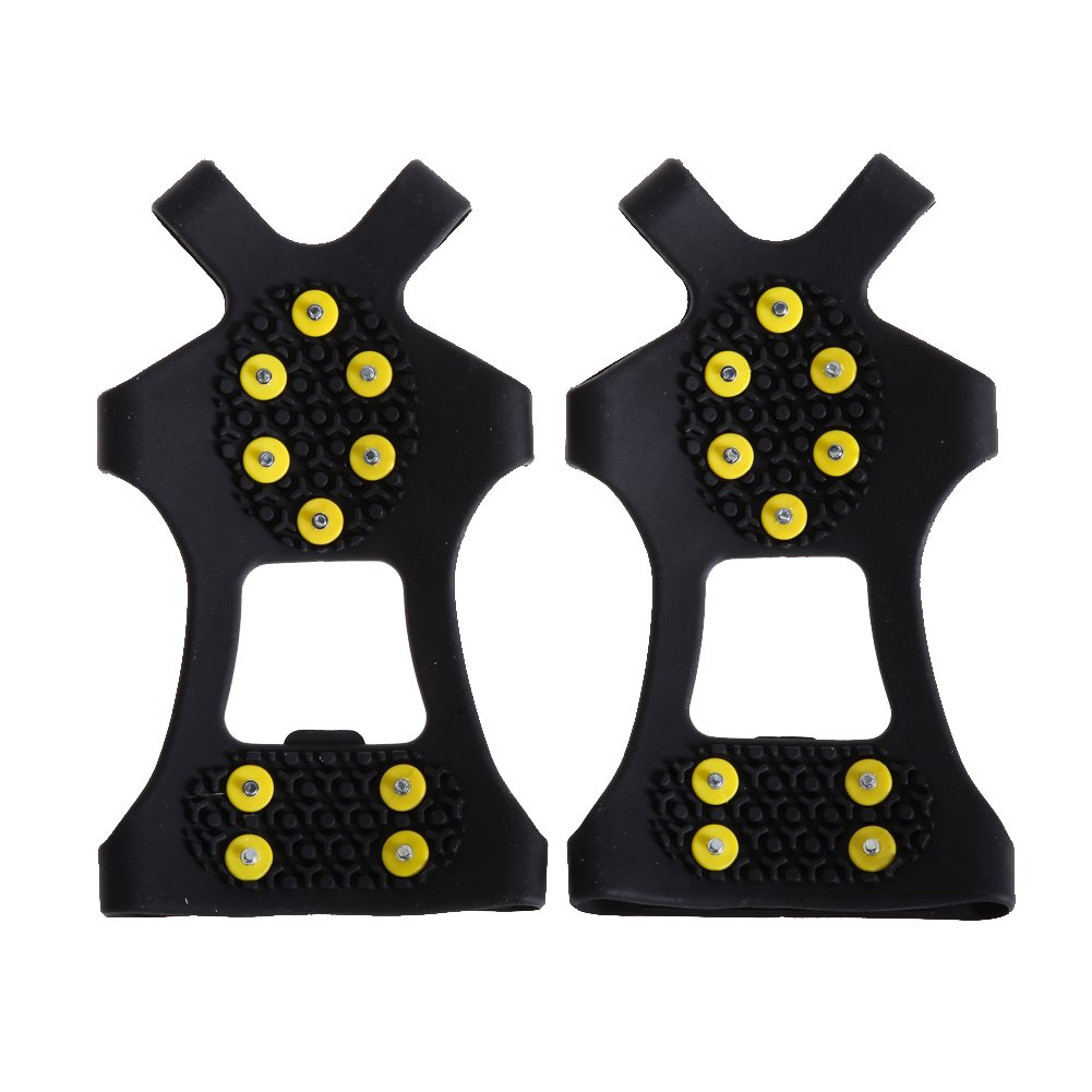 Easydeal 10 Studs Anti Slip Snow Ice Crampon Spikes Grips Traction Cleats Shoes Cover Universal