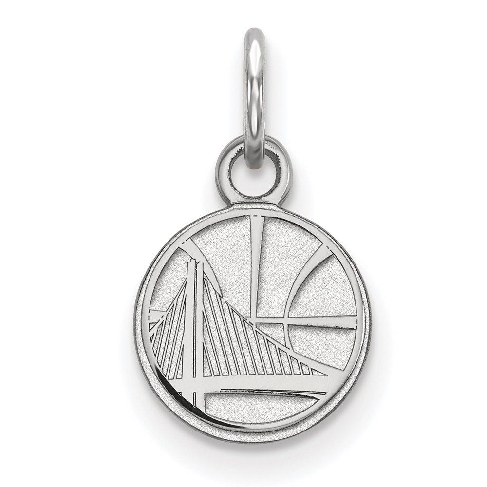 NBA Golden State Warriors X-Small Logo Pendant in 10K White Gold