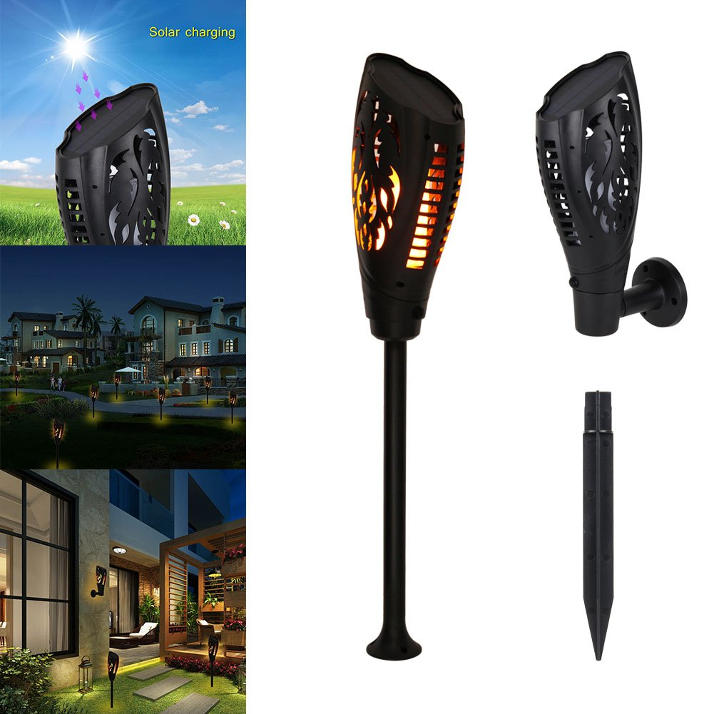 ASOSMOS Solar Torch Light Flickering Flames Decor 2 Install Ways Wall Lamp for Garden Yard Patio Pathway