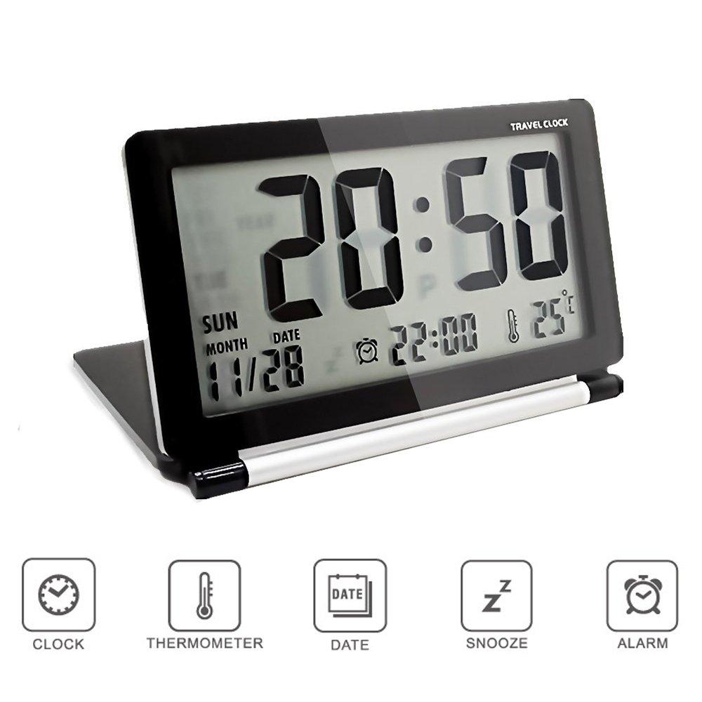 Multifunzione Sveglia Digitale, Silenzioso Snooze Orologio da Viaggio, Data Ora Calendario Temperatura Display da Pingenaneer - Bianco