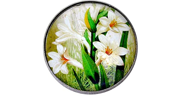 """Crystal Dome Button White Lily Flower 1/""""- Floral25 FREE US SHIPPING"""