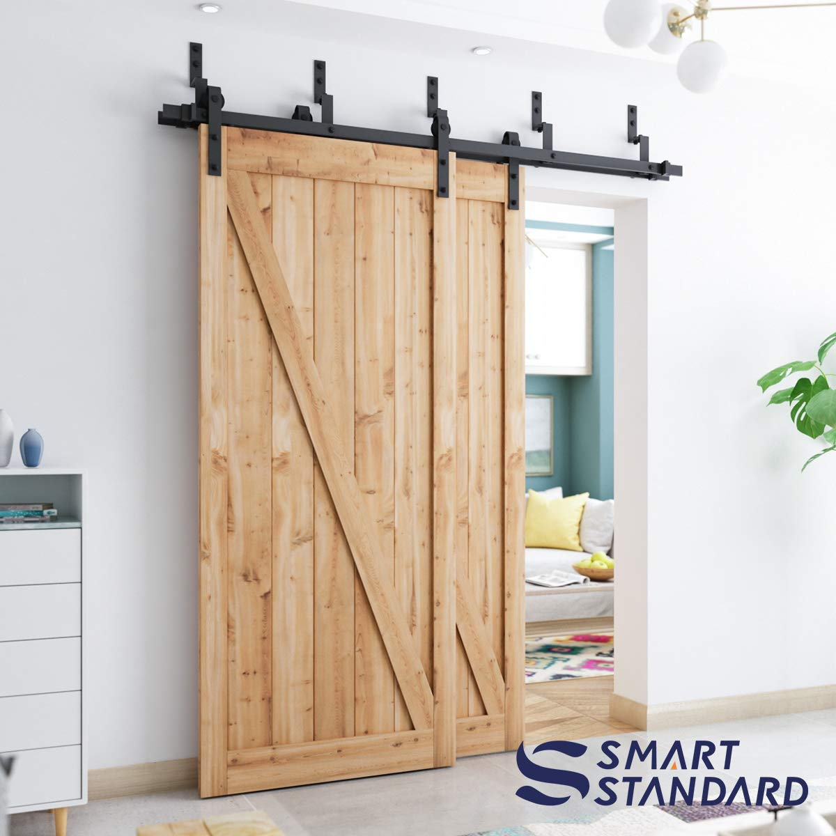 SMARTSTANDARD 6 6ft Heavy Duty Bypass Double Door Sliding Barn Door  Hardware Kit - Smoothly &Quietly -Easy to install - Includes Step-By-Step