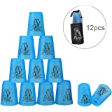 Quick Stacks Cups, 12 Sets Of Sports Stacking Cups Speed Training Game(Blue)