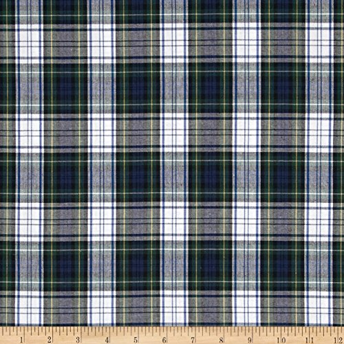 Poly/Cotton Uniform Plaid Blue/Green/White/Yellow Fabric By The Yard (Blue Yellow Fabric)