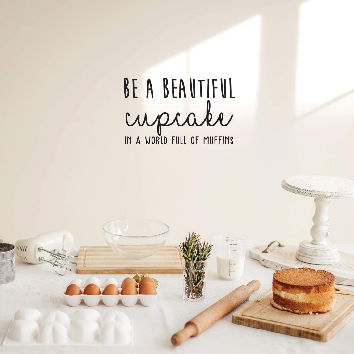 """Vinyl Wall Art Decal - Be A Beautiful Cupcake in A World Full of Muffins - 15"""" x 25"""" - Trendy Inspirational Life Quote for Home Bedroom Living Room Kitchen Playroom Decor"""