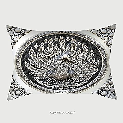 Custom Microfiber Pillowcase Protector Frame Engraving Silver Lacquer Plate Show Peacock Animals In Mythology Fine Art Global Crafts Thai 69289018 Pillow Case Covers - Black Lacquer Full Futon Frame
