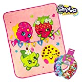 Shopkins Plush Kids Airplane Flight Car Travel Cute Microbeads U Neck Support Pillow & Throw Blanket - D'Lish Dount Strawberry Kiss Apple Blossom Cupcake Chic Gigi Gift