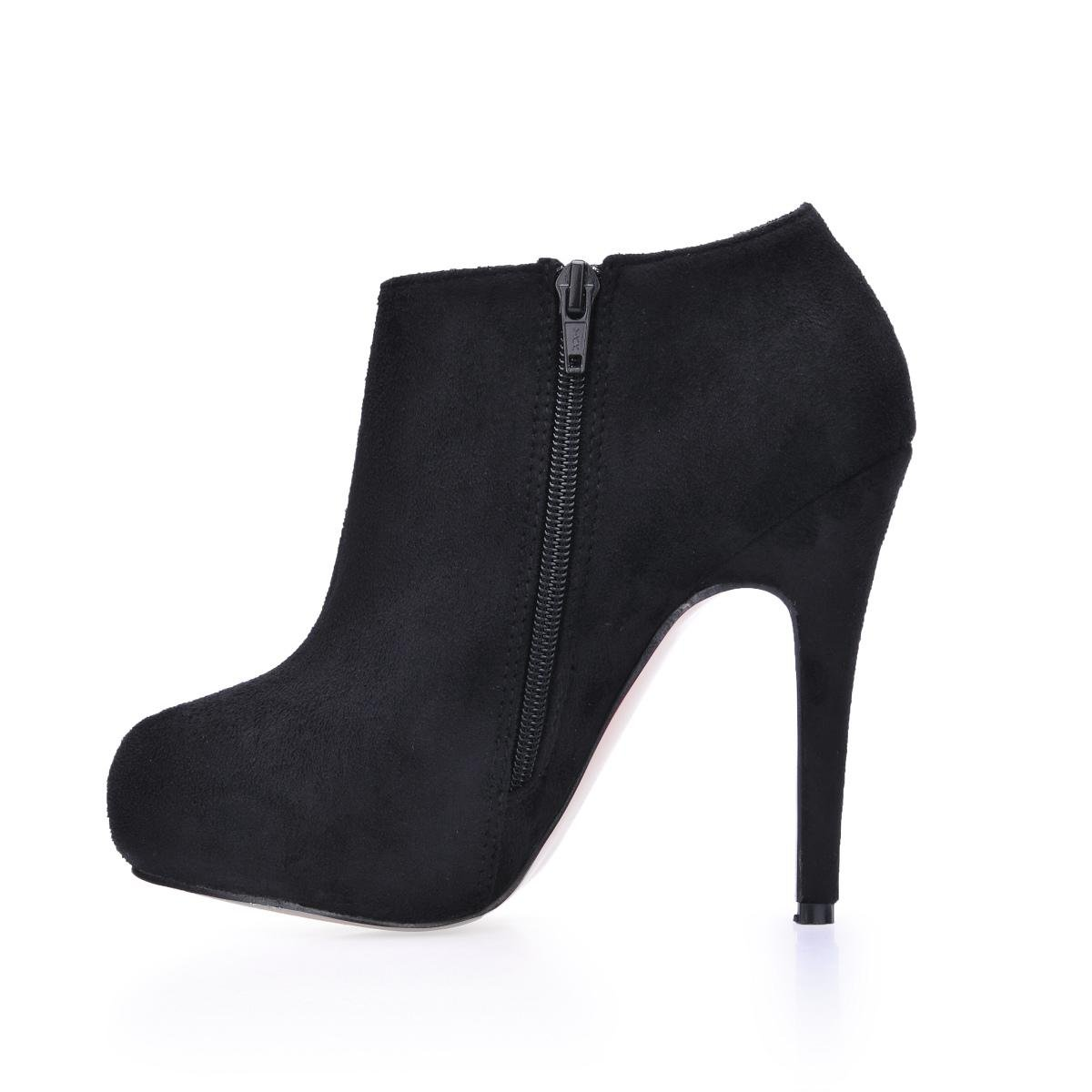 Best 4U® Velvet Damen Stiefeletten Elastic Velvet 4U® 14CM High Heels Stiletto Gummisohle Round Toe Zipper Schuhe Schwarz - 44d803