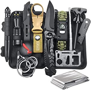 Gifts for Men Dad Husband, Survival Gear and Equipment 12 in 1, Fishing Hunting Christmas Birthday Gifts Ideas for Him Boyfriend Teen Boy, Cool Gadget Stocking Stuffers, Survival kit Emergency Camping