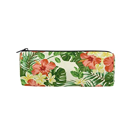 amazon com jerecy tropical floral green palm tree pencil case