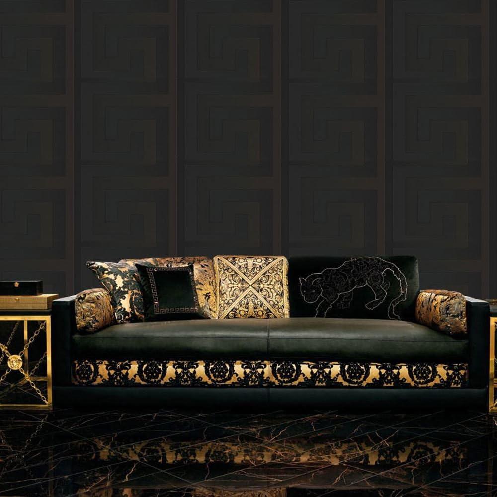 Versace Greek Wallpaper In Black 93523 4 10 M X 70 Cm Amazon Co