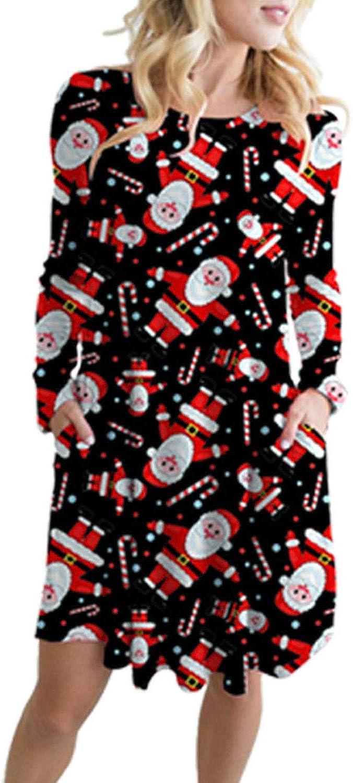 Viottiset Damen Langarm Swing Skaterkleid Minikleid Weihnachtskleid