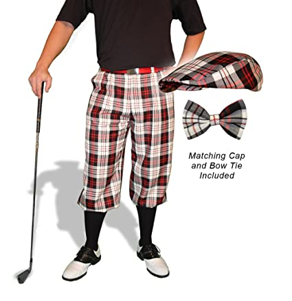 d61ff8914c2 Amazon.com   Golf Knickers Plaid and Cap  Mens  Par 5  - Charleston ...