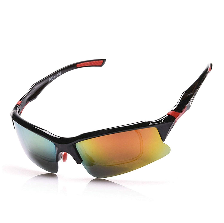 SonMo Arbeitsbrille Fahrradbrille Radbrille Nachtsichtbrille Skibrille Snowboardbrille Schneebrille PC Schwarz Rot Skibrille Nebel Polarisierte Blendschutz mit Uv Schutz Windschutz