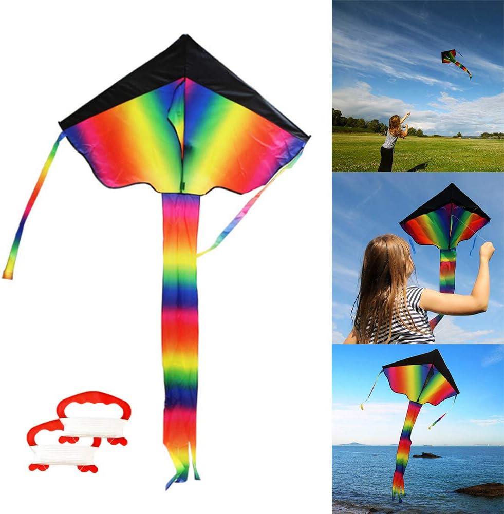 Kite Cometa Juguetes Voladores Cometa para Niños INTVNGrande Cometa para los Niños y Adultos El Arco Iris Colorido de la Cometa Fácil de Volar, Liviano y Estable con Dos Cuerdas 50m