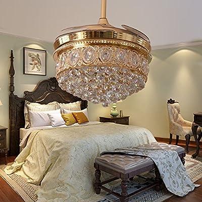RS Lighting Living Room Crystal Fan Lights Luxury Stealth Blades Ceiling Fan Lights Bedroom Dining Room Study Fan Chandelier