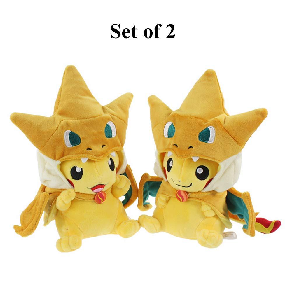 Bellagione Pikachu poupée en Peluche Smile Faisant la Grimace avec Poncho de dracaufeu 21,6 cm Jouet pour Enfants