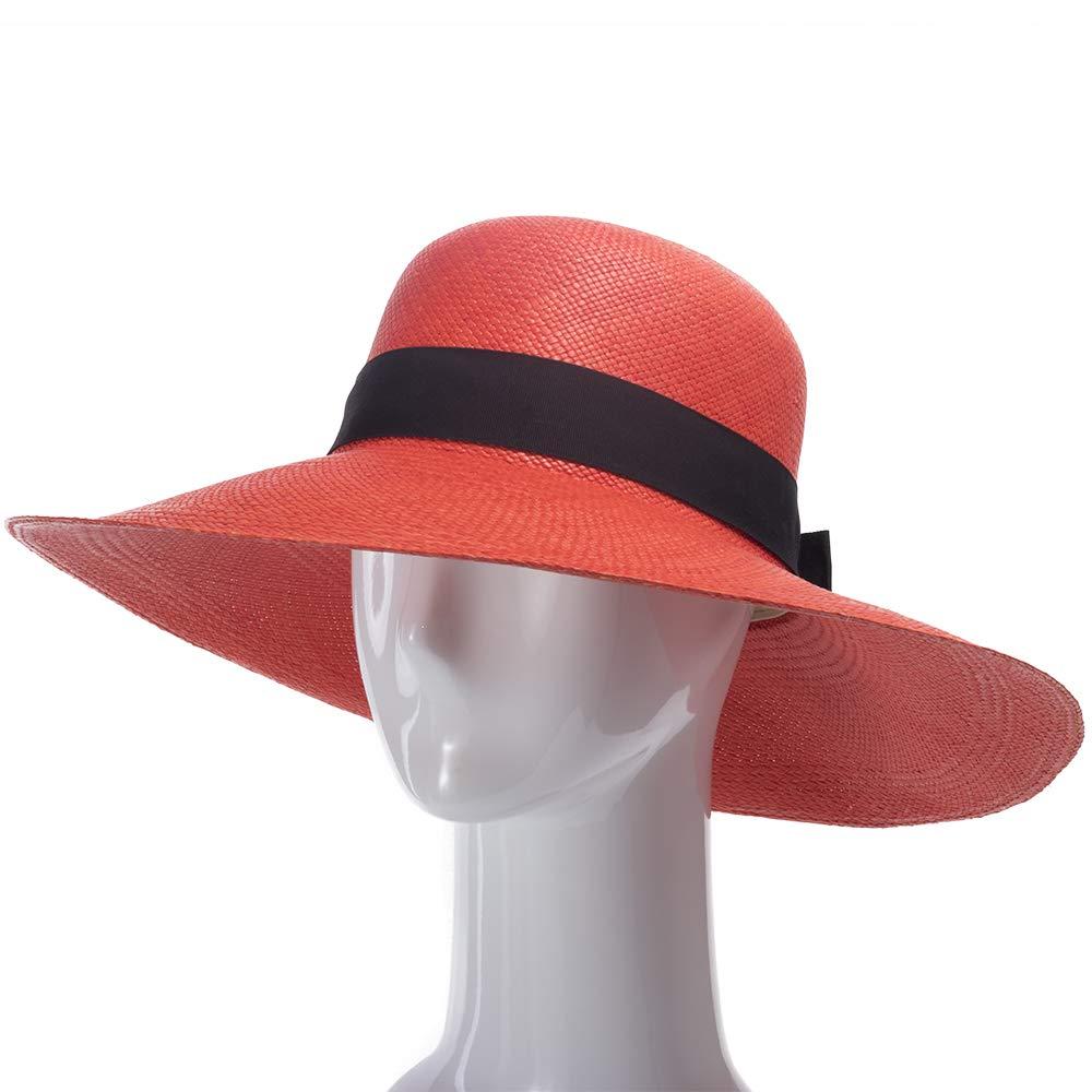 Ultrafino Francesca Wide Brim Straw Panama Sun Hat RED by Ultrafino (Image #4)