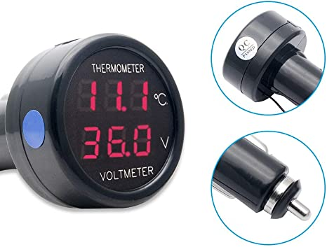 Car Temperature Clock Universal Auto Dashboard Digital Clocks with Blacklight And LCD Screen Adjustable Vehicle Temperature Gauge Support 12h//24h Transformation Modes-Thermometer Voltmeter B
