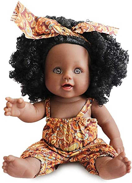12 inch Baby Dolls For Girls Baby Movable Joint African Doll Toy Doll Best Gift
