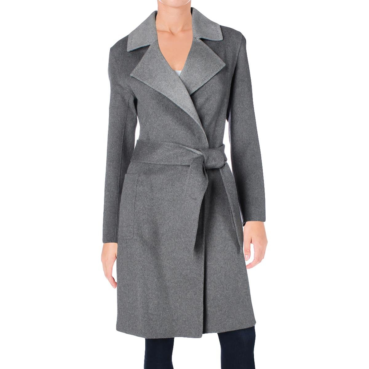 Nanette Lepore Womens Wool Notched Lapel Wrap Coat Gray XL