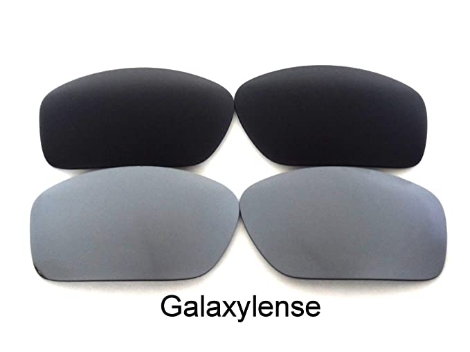caba13f67ad6d Amazon.com  Galaxy Replacement Lenses For Oakley Valve Black Titanium Color  Polarized 2 Pairs  Clothing