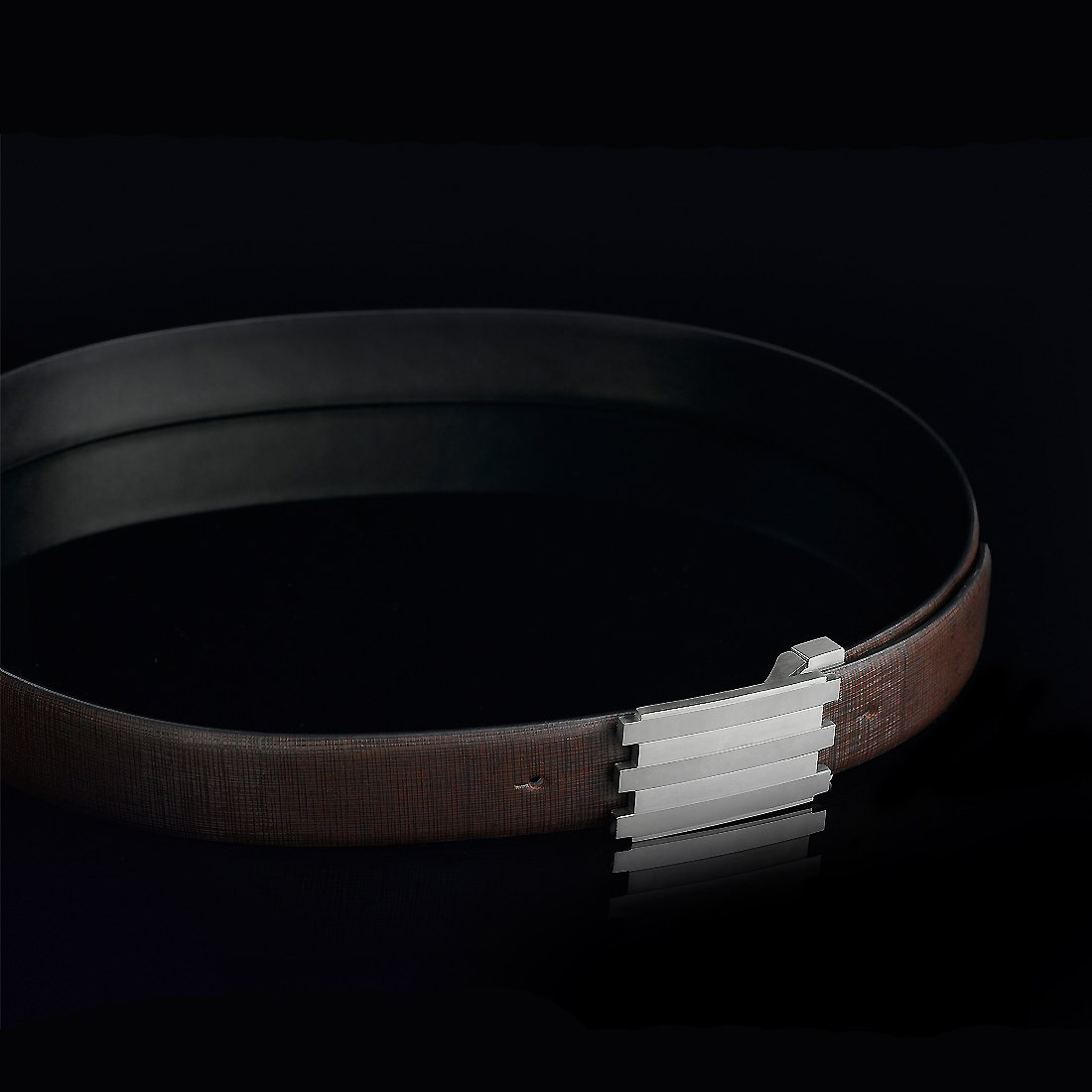 Brown Hardart Classic Stainless Steel Ratchet Solid Buckle Genuine Cow Skin Leather Belt for Men