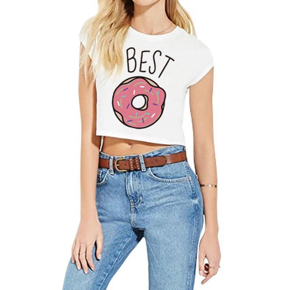 Juleya Best Friends Tshirt Camicia Comoda Maglietta in Cotone 100/% Top Corrispondenza delle Modello Camicette Outfits Casual Girocollo S-3XL