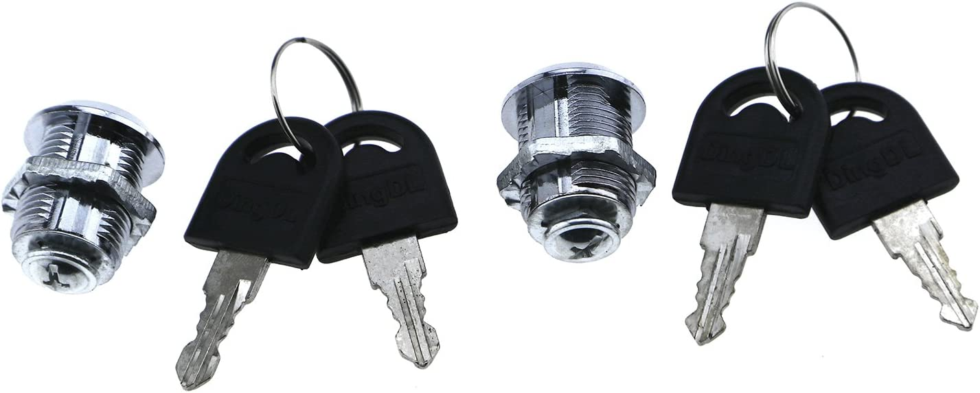 ENET 2pcs Tubular Cam Lock With 20mm Cylinder with 4 Keys Pull Drawer Cabinet Toolboxs