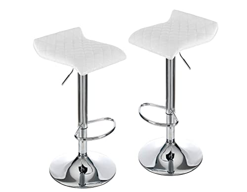 Fullwatt Adjustable Swivel Bar Stools PU Leather Backless Bar Stools Set of 2 Kitchen stools Counter Height