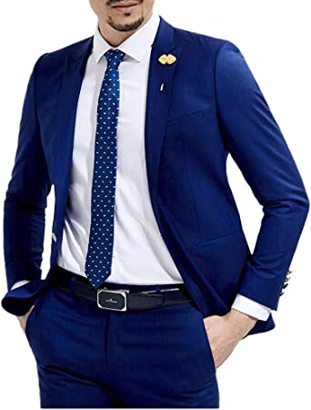 Slim Fit Royal Blue Wedding Suits 2 Pieces Men S Suits Groom Tuxedos Business Suit At Amazon Men S Clothing Store