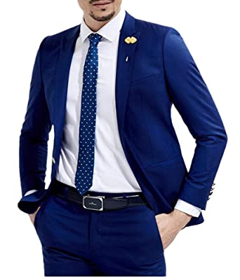 66eda039ed Slim Fit Royal Blue Wedding Suits 2 Pieces Men's Suits Groom Tuxedos  Business Suit at Amazon Men's Clothing store: