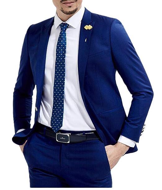 692257561c3a4 Slim Fit Royal Blue Wedding Suits 2 Pieces Men's Suits Groom Tuxedos  Business Suit