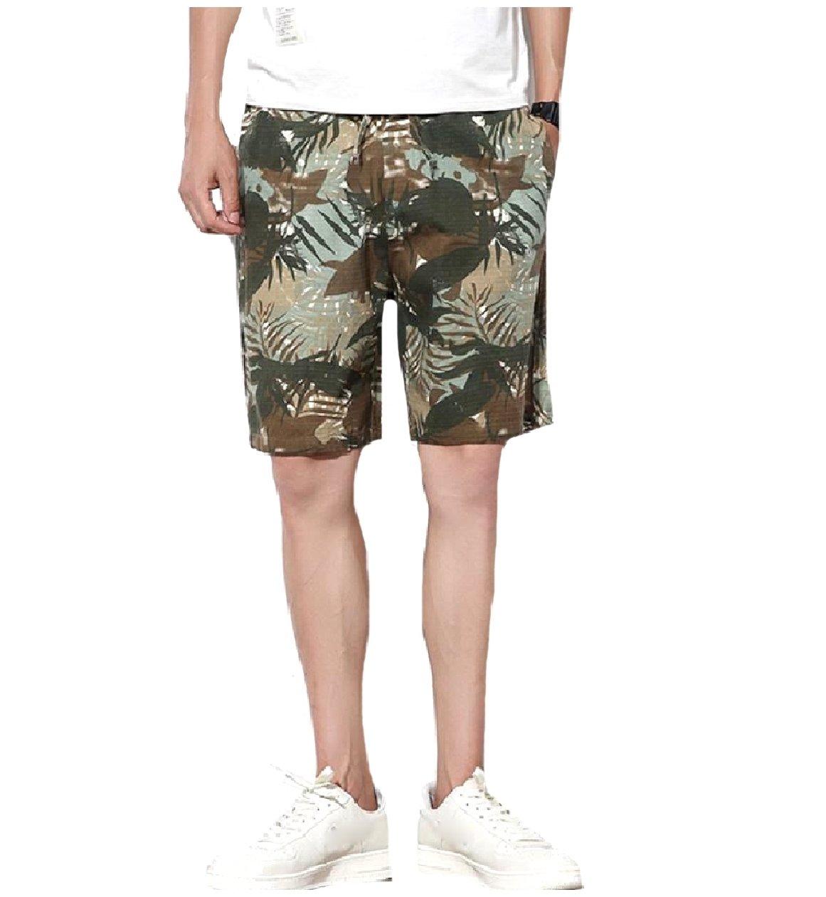 Zimaes-Men Fine Cotton Camo Elastic Drawstring Baggy Mid Length Short Light Green XL
