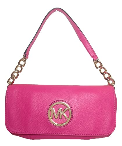 michael kors fulton leather small chain shoulder flap bag zinnia rh amazon com