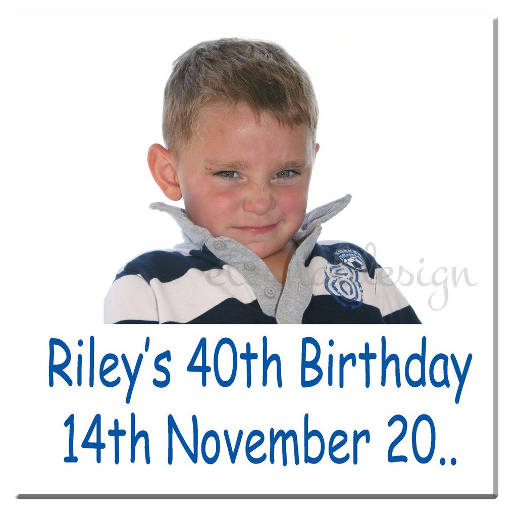 Eternal Design 24 x 40mm Square Personalised Birthday Party White Glossy Stickers BDSS 32