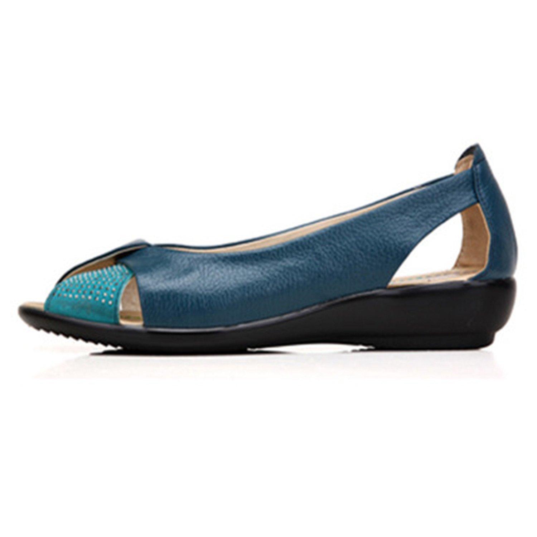 New Summer Women Shoes Woman Genuine Leather Platform Sandals Open Toe Mother Wedges Casual Sandals Women Sandals B07CVC5399 9 B(M) US Blue