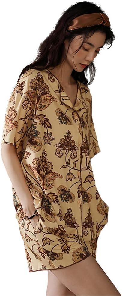 WX-ICZY Casual Suit Pijamas del Impresa de Las Mujeres, de Gran tamaño Sueltos de algodón cómodo casa la Ropa de Moda Larga Suave Bolsillo Temperamento Noche Falda de Cuello Redondo Mujer Pijamas,XL