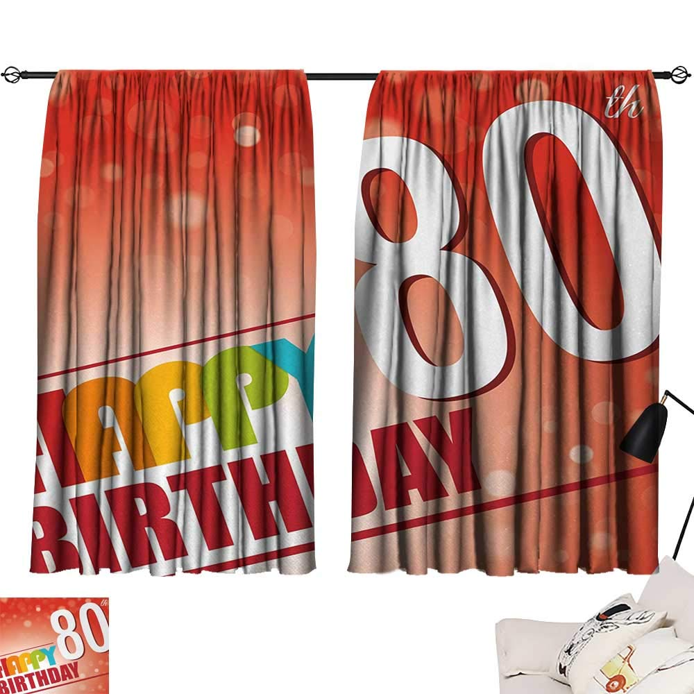 Jinguizi 80th Birthday Curtain for Bedroom 80 Wise Age Colorful Birthday Party with Abstract Background Decoration Darkening Curtains Red Vermilion and White W55 x L39 by Jinguizi (Image #1)