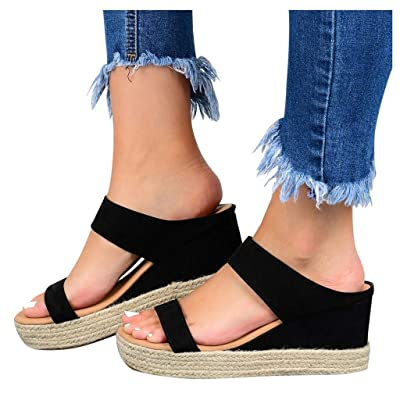 Haomigol Women Espadrilles Platform Wedge Sandals Open Toe Strap Strappy Sandals Summer Beach Slip On Slippers Slide Sandals at Women's Clothing store
