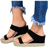 Vedolay Sandals for Women, 2020 Summer Women's Platform Sandals Casual Slip-On Straw Wedge Ankle Strap Open Toe Summer…