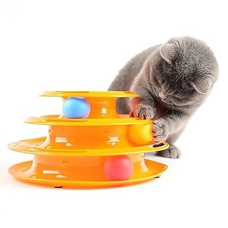 OWIKAR Juguete de juguete creativo para gato y gato con tres niveles de juguete para entrenamiento