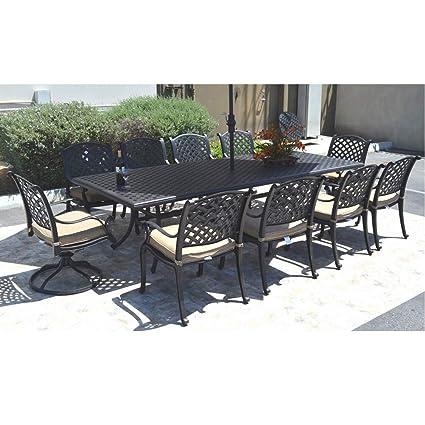 Amazon Com Cast Aluminum Patio Dining Set Nassau 11 Piece Outdoor