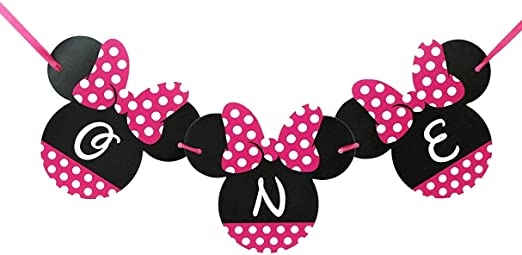 Minnie Mouse Birthday Banner - ONE Birthday Banner - OH TWO DLES! Minnie mouse party supplies - Minnie Mouse Theme Birthday Party Supplies - Minnie ...